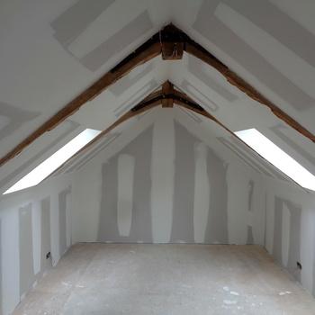 Isolation et cloisons sèches d'une chambre et d'un étage à Pordic