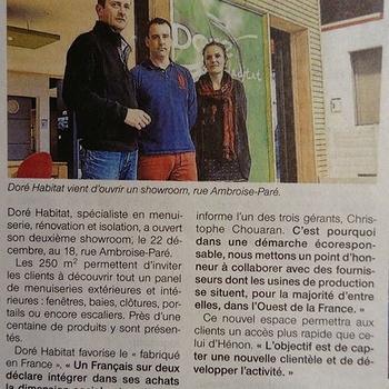 Le showroom Doré Habitat de Langueux dans Ouest-France !
