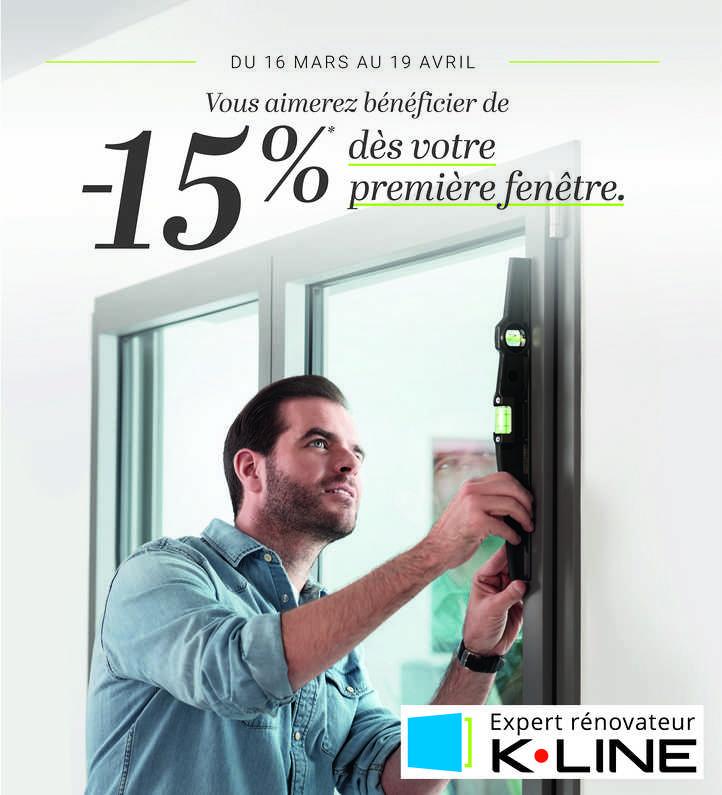 promo k.line : -15% fenetres et portes d entree